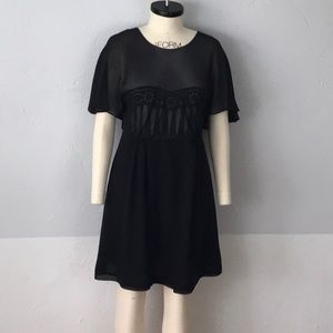 see by chloe black silk dress size 8
